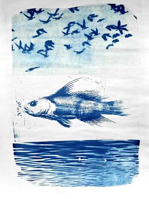 fish between heaven and sea_cyanotype_collage_heike zappe
